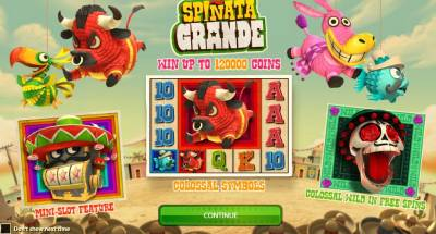 Spinata Grande features fluffy, colourful pinatas, all ripe for smashing and includes free spins and cash sums